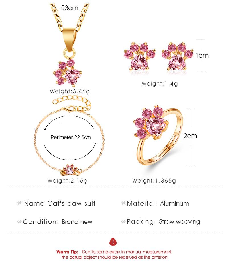 Cute cartoon cat claw necklace earrings four-piece cat footprint zircon ring bracelet NHDP181306