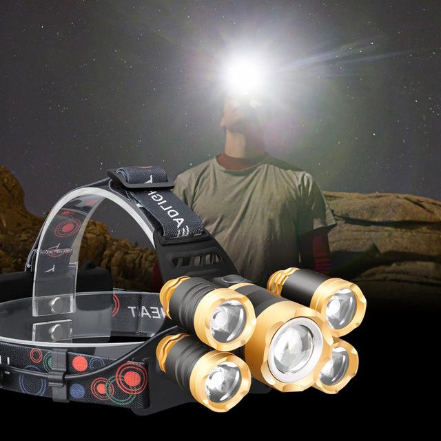 Qua biên giới đặc biệt cho Amazon T6 đèn pha chói tìm kiếm ánh sáng cảm ứng 5 đêm máy bay hạng nhẹ đánh cá ngoài trời Đèn pha