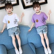女童夏装套装2019新款洋气童装儿童夏季8牛仔短裤T恤时髦两件套潮