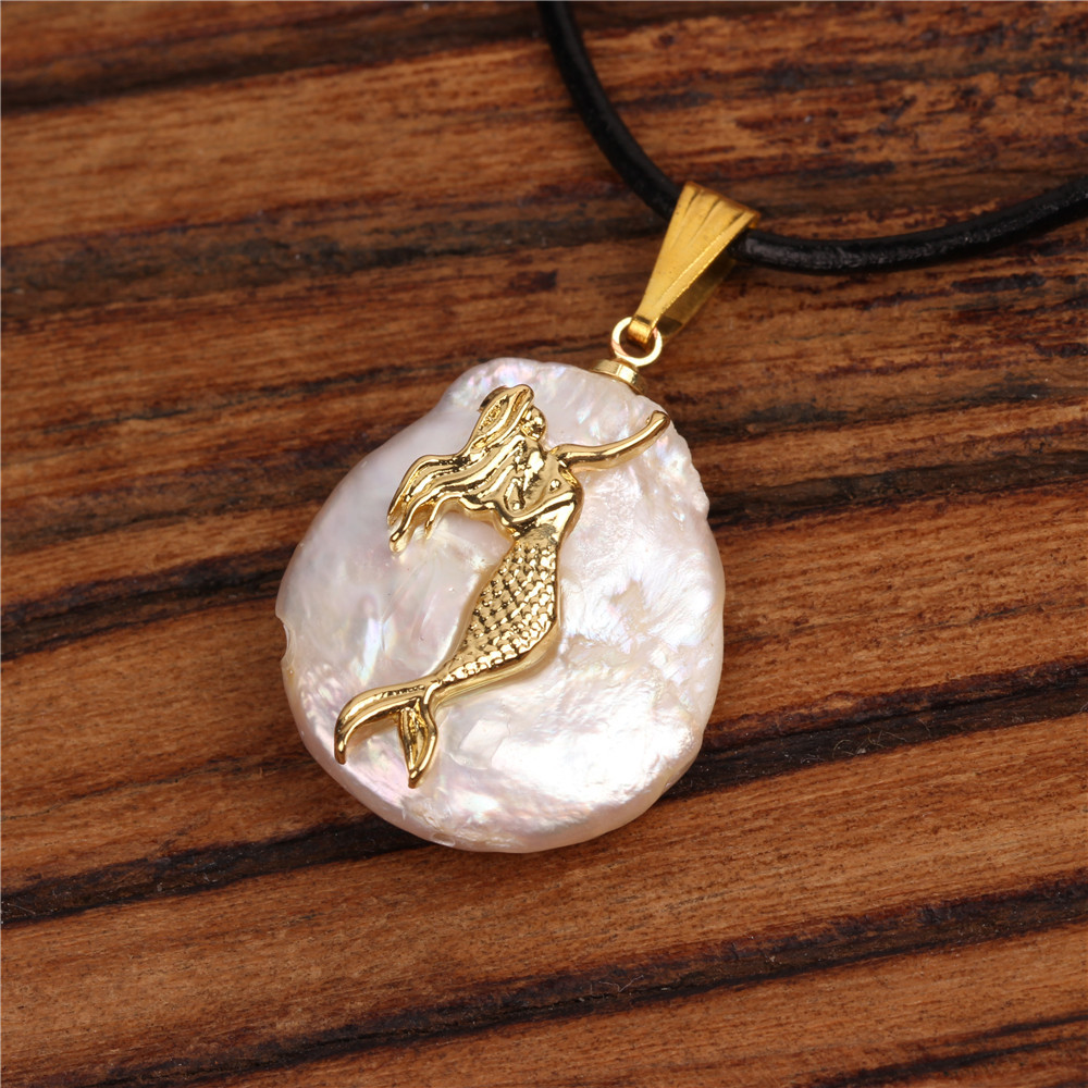Micro-inlaid ocean star starfish pendant leather rope necklace NHPY134851