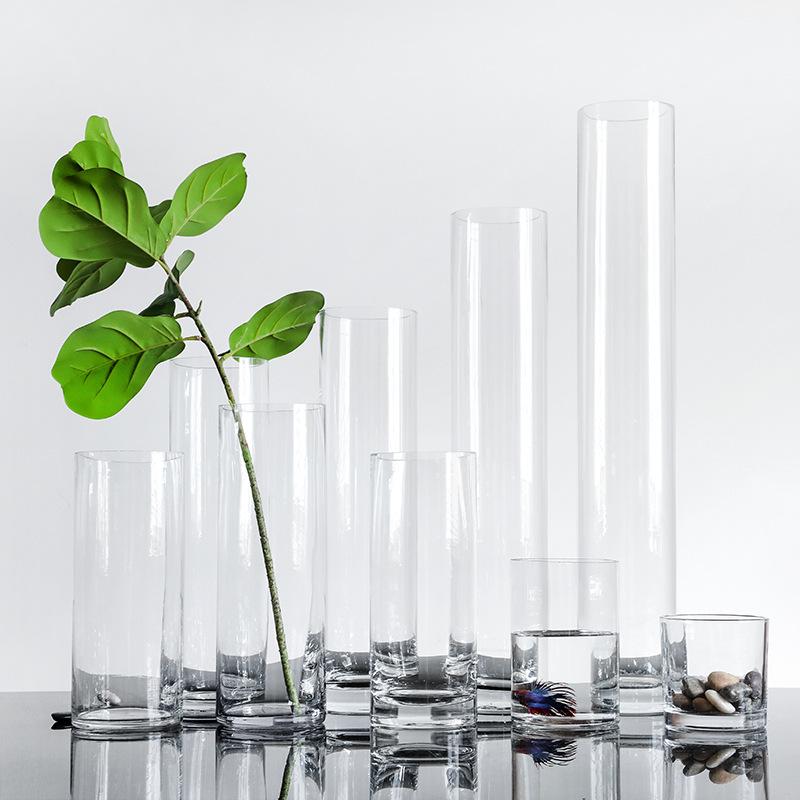 簡約圓筒花瓶家居透明玻璃花器超長直筒落地婚慶插花容器大號水培
