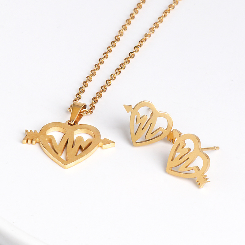 Stainless steel electrocardiogram clavicle necklace earrings set titanium steel jewelry sweater chain necklace NHJJ176127
