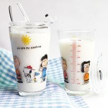创意大容量果汁水杯耐热刻度牛奶早餐杯子卡通查理史努比玻璃杯