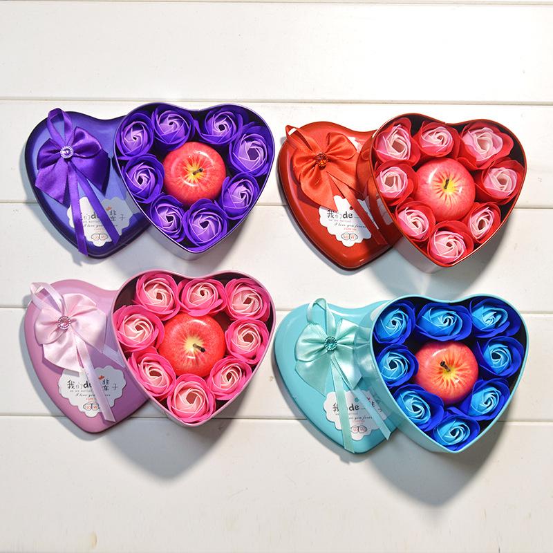 香皂花苹果蜡烛圣诞礼物心型礼盒仿真平安果玫瑰花束活动赠品批发