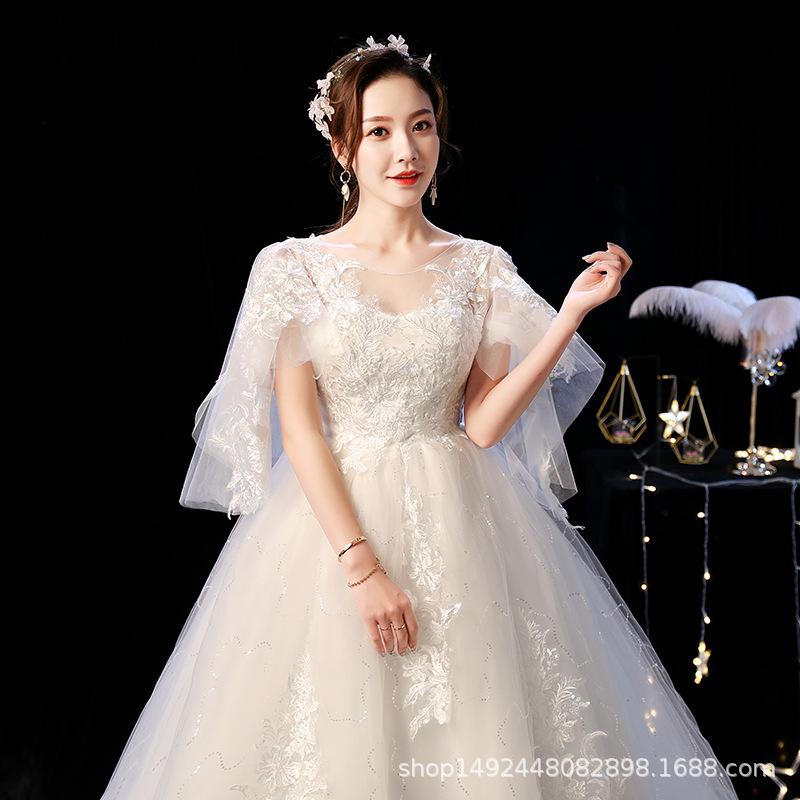 齐地婚纱孕妇苏州复古大码韩版高腰韩式婚纱2021新款新娘一字肩