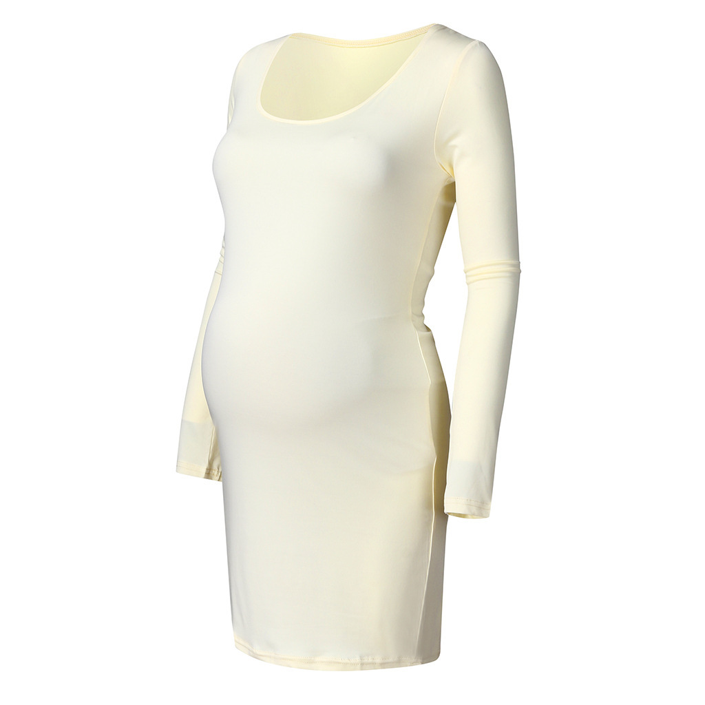 Maternity Long Sleeve Bodycon Low Neck Dress