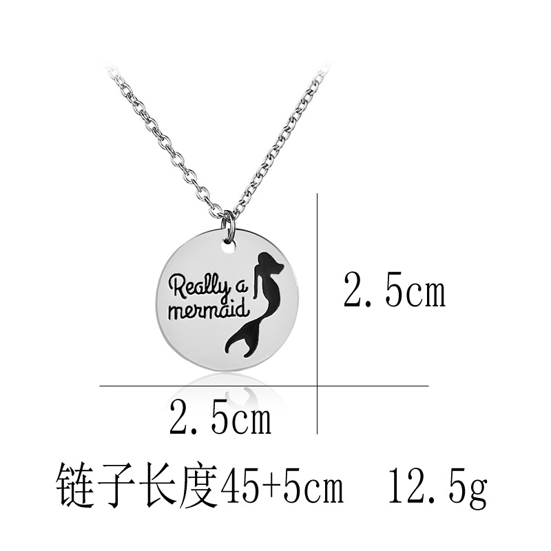 New round tag necklace dripping letters Really a Mermaid mermaid pendant necklace wholesale NHMO209176