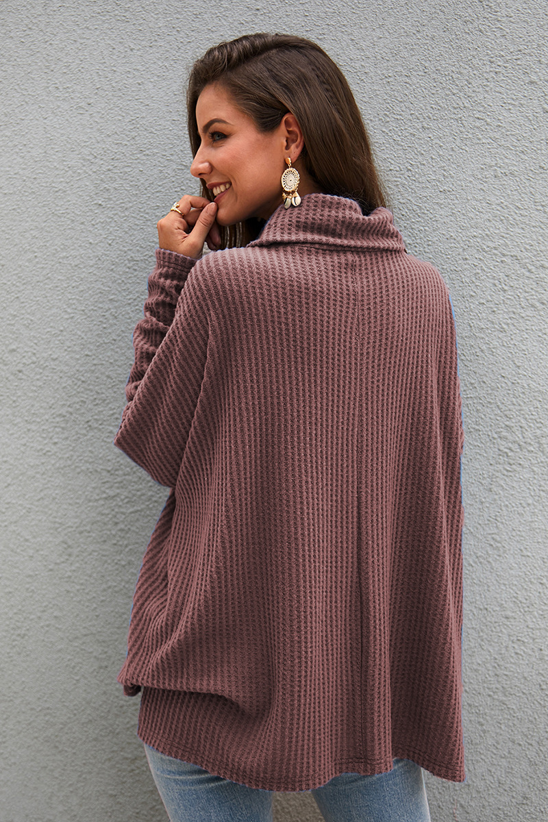 fashion high-neck solid color knit sweater NSKA9615