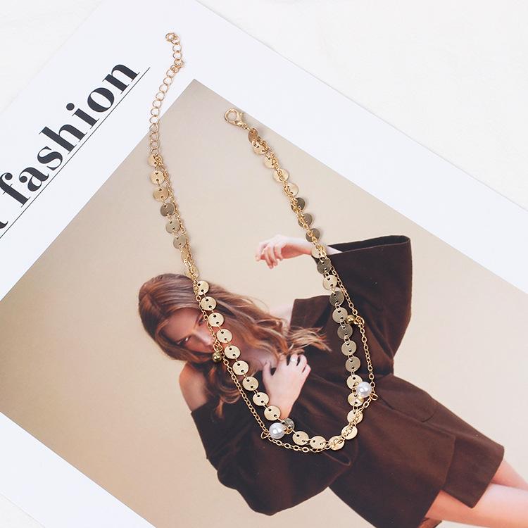 Fashion new metal multilayer choker creative pearl necklace hotsaling jewelry NHRN259952