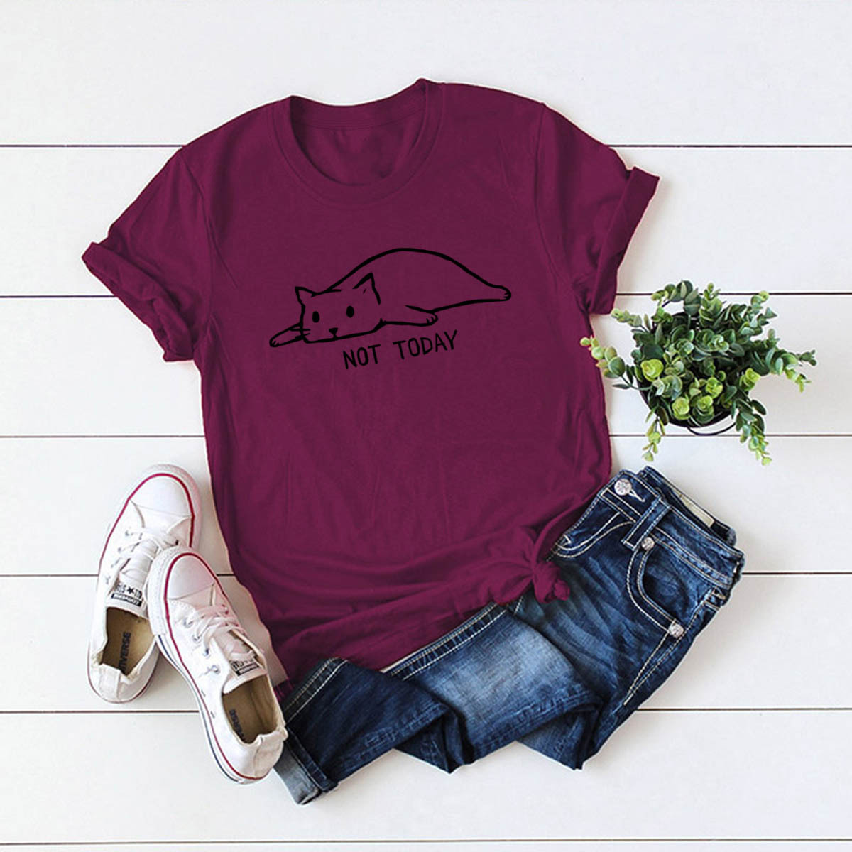 fashion loose cat casual print women's short sleeve T-shirt NSSN326