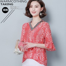 2019夏季气质民族棉套头五分袖V字领宽松型韩版宽松洋气女式衬衫