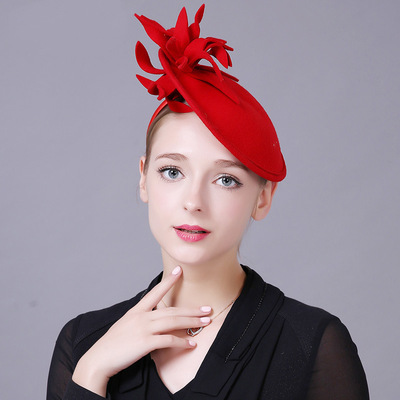 Party hats Fedoras hats for women Dress Hat Lady British high quality woollen cloth Vintage headdress ceremonial hat banquet hair ornament