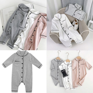 Baby onesies pajamas spring and autumn clothing newborn cotton romper foreign style long-sleeved romper men and women baby home service
