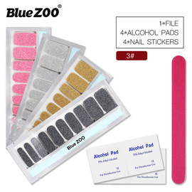 3#Glitter set 4 stickers +4 alcohol cotton +1 Blue BlueZOO nail nail 20 paste pure nail polish nail polish