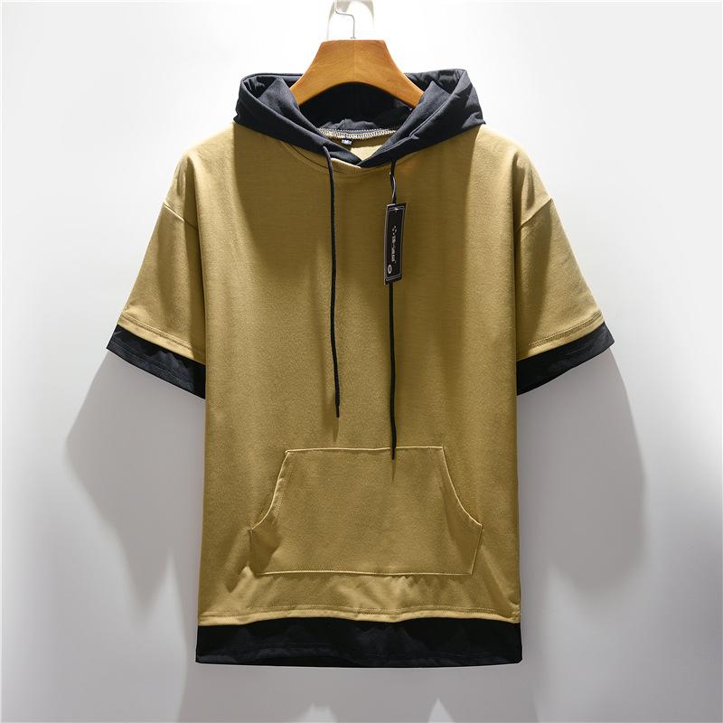 Summer new men's large hooded color matching short sleeve T-shirt casual loose large pocket T-shirt half sleeve men's top