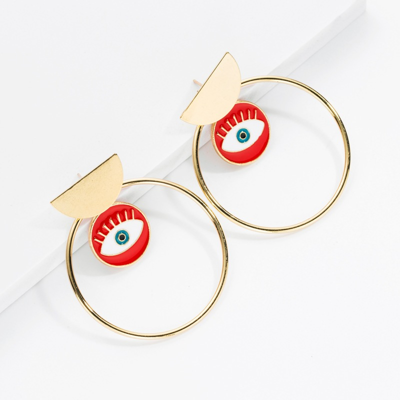 Earrings new gold-plated big circle earrings fashion devil's eye earrings for women NHOT180494
