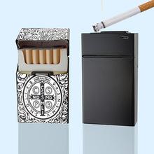 煙盒打火機20支裝鋁合金煙盒充電打火機創意防風usb點煙器金屬盒
