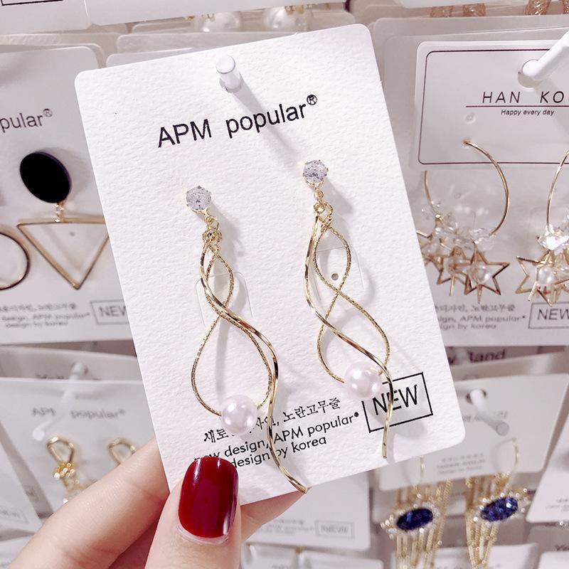 Inventory wholesale price earrings factory 2020 new long style earrings earrings temperament simple female ear jewelry E1213 gold