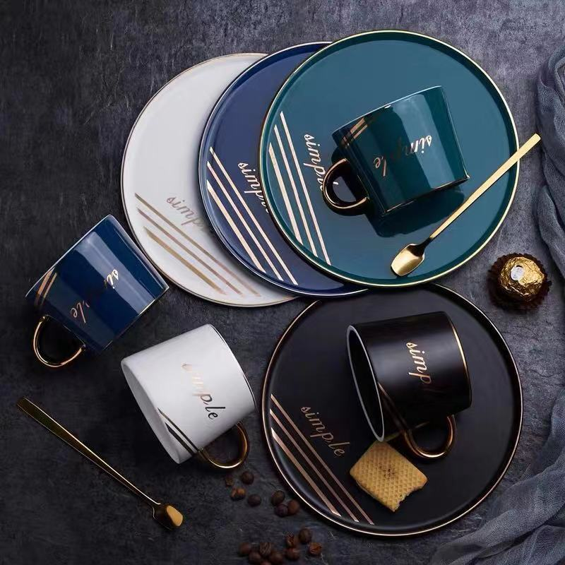 ins网红陶瓷杯子定制logo商务咖啡杯碟色釉北欧风下午茶杯具金柄