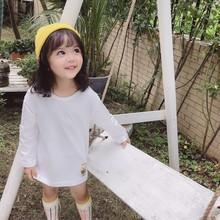 婴童装1-3岁男宝宝春装女童长袖t恤圆领百搭儿童条纹打底衫中长款