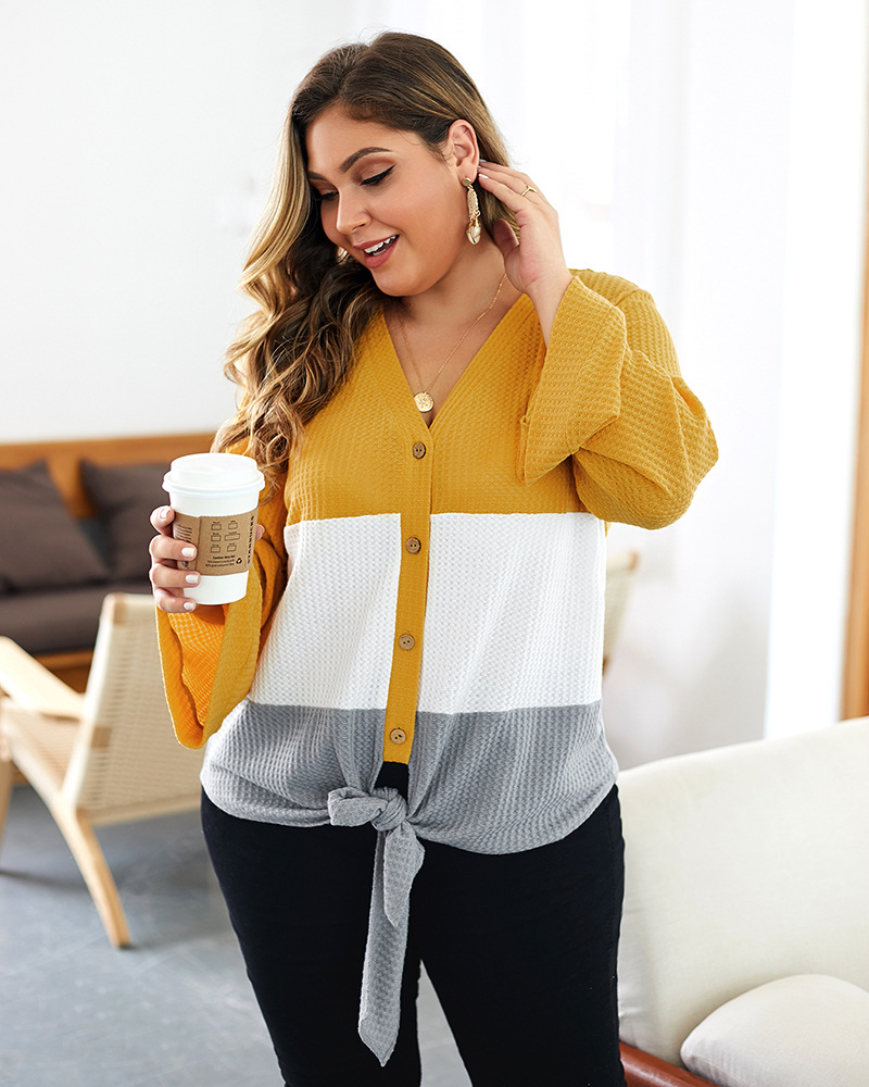 new plus size women's fat loose knit new long-sleeved sweater wholesale nihaojewelry NHKA244056