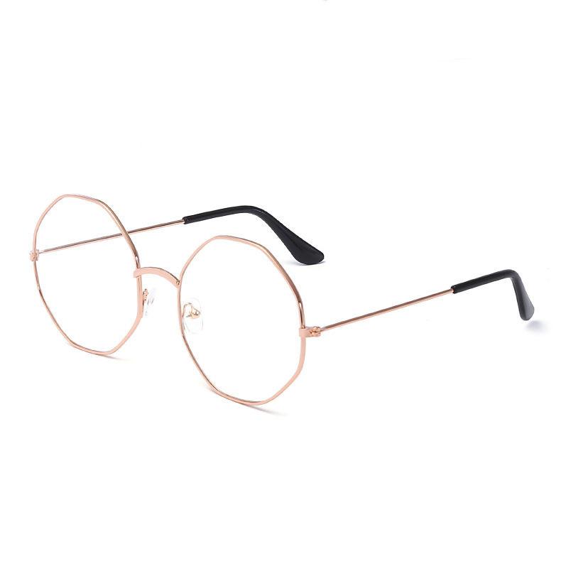 现货男女防蓝光多边形近视眼镜框0-600度女光学平光眼镜 厂家批发
