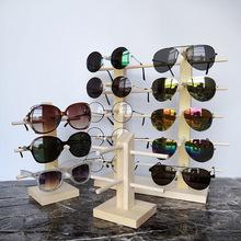 實木眼鏡展示架松木原木質太陽鏡陳列近視鏡支架眼睛道具展示架
