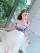 韩版时尚甜美小仙女网红主播一字肩针织很仙层层蛋糕连衣裙