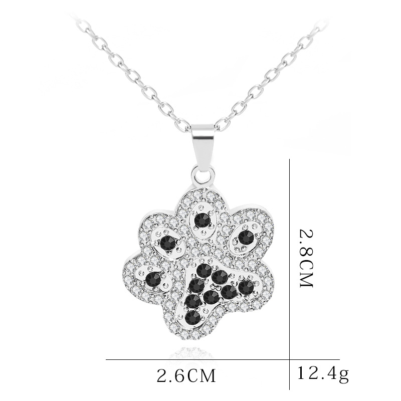 fashion cute animal dog paw diamond pendant necklace clavicle chain accessories for women NHCU248281