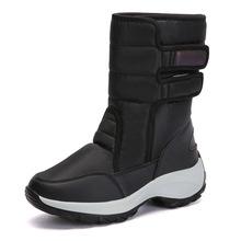 2019冬季新款跨境大码雪地靴女防水鞋皮毛一体高帮加绒保暖棉鞋女