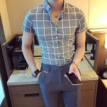 新款2018夏季韩版新款男装青年休闲格子衬衣商务免烫短袖衬衫30