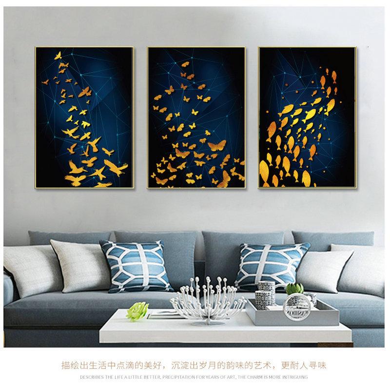 轻奢镜面金属晶瓷画 北欧ins风铝合金竖版样板房背景墙画玄关客厅