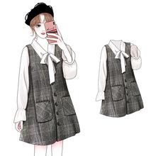 春装2019新款韩版大码女装宽松A字裙显瘦藏肉洋气两件套装连衣裙