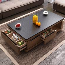 电视柜石桌?#20301;?#28903;家用茶茶几组合玻璃工艺大理石整装小户型客厅茶