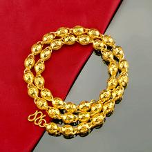 新款銅鍍黃金飾品男士復古沙金鏤空六字真言佛珠項鏈仿真久不掉色