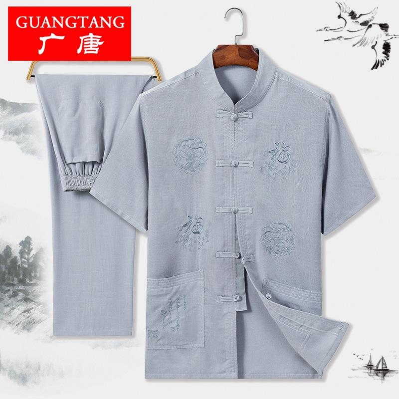 中国风大码刺绣唐装中老年男士短袖棉麻套装爸爸装复古汉服中山装