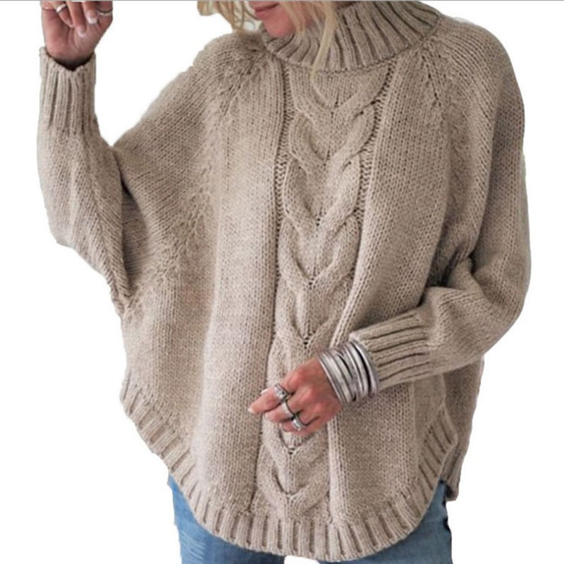 autumn and winter new ladies loose bat sleeve knitted sweater NSYF1067