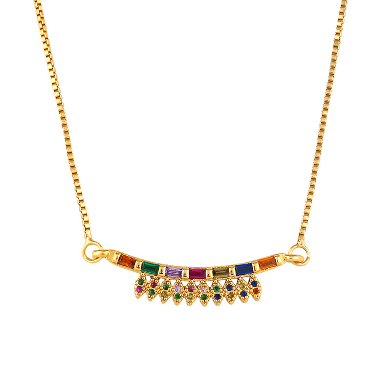 Heart-shaped adjustable necklace with colored diamonds NHAS155709