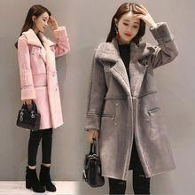 2020冬季新款中长款加厚保暖羊羔毛外套鹿皮绒棉衣女韩版修身棉服