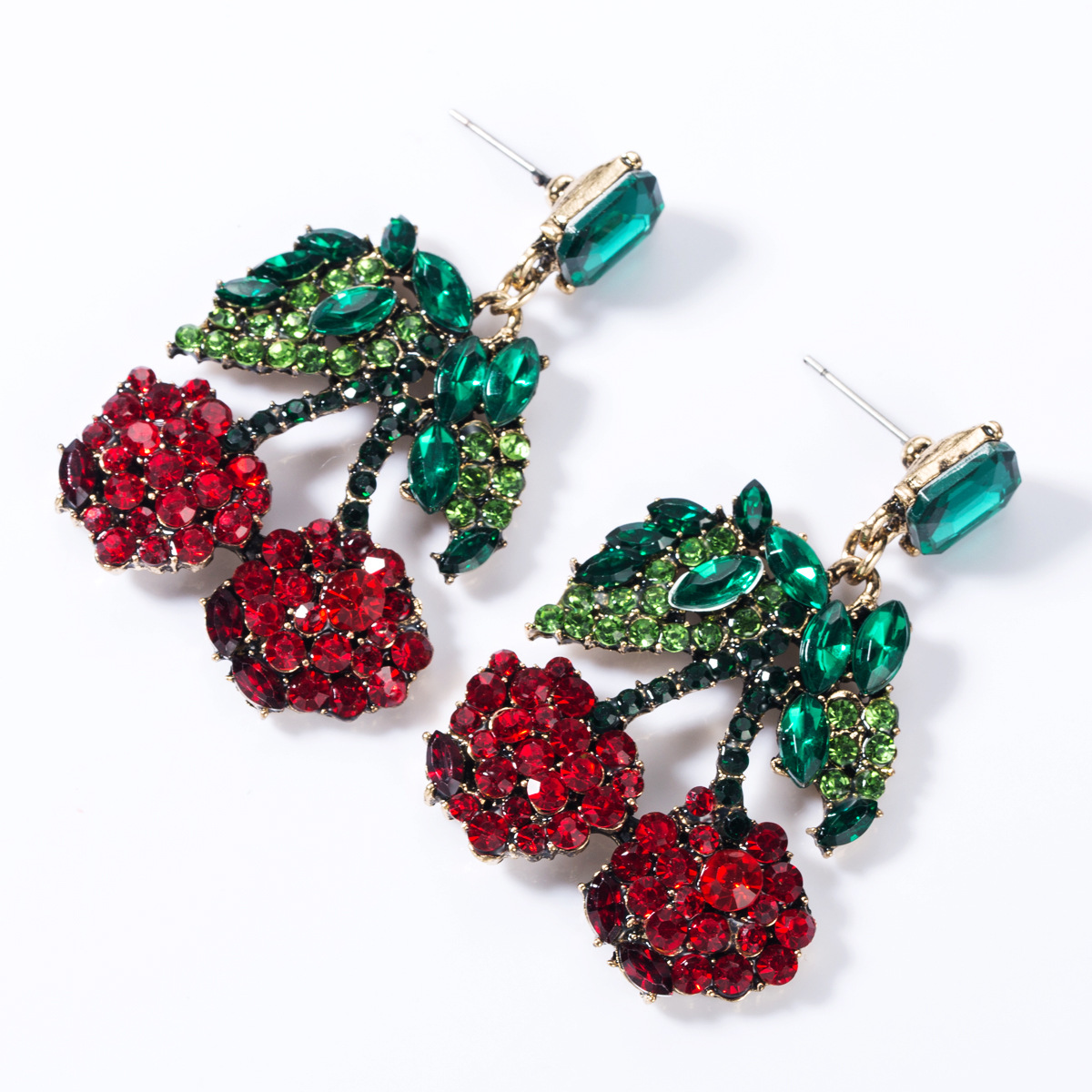 Colored rhinestone glass drill cherry earrings NHJE155452
