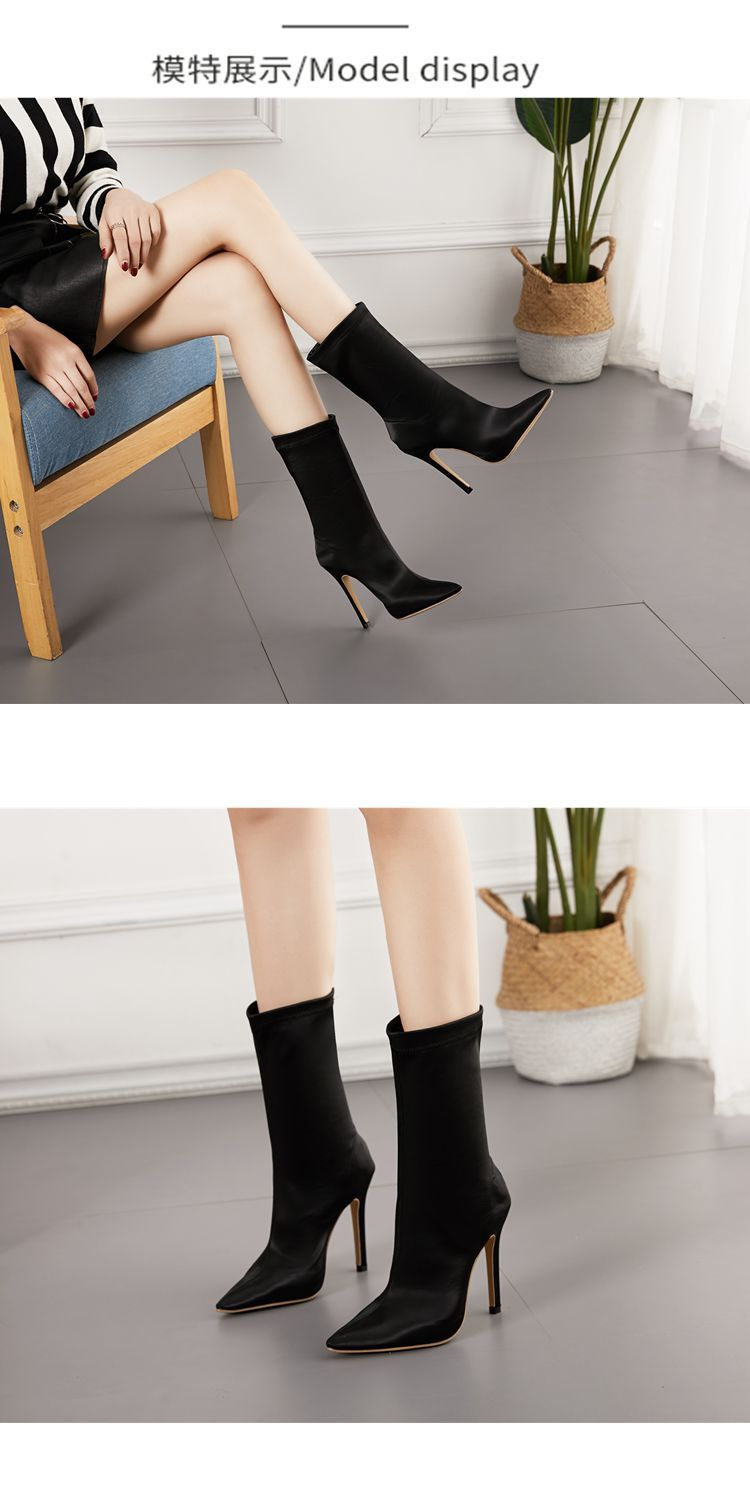 Slim high-heeled boots elastic pointed satin  boots NHSO154919