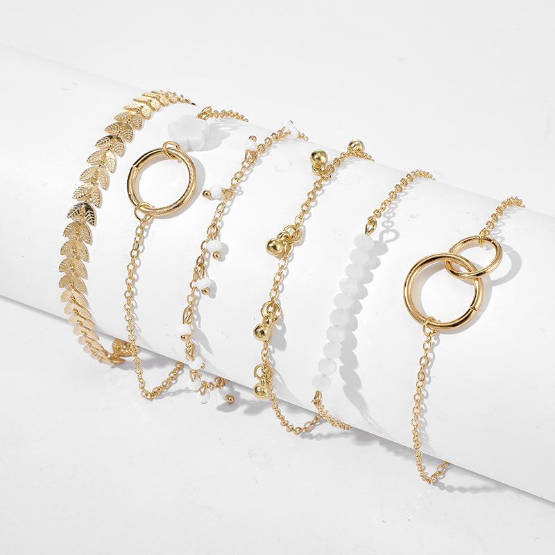 Nuevo conjunto de brazalete de pulsera de círculo simple flor flecha hoja NHGY195400