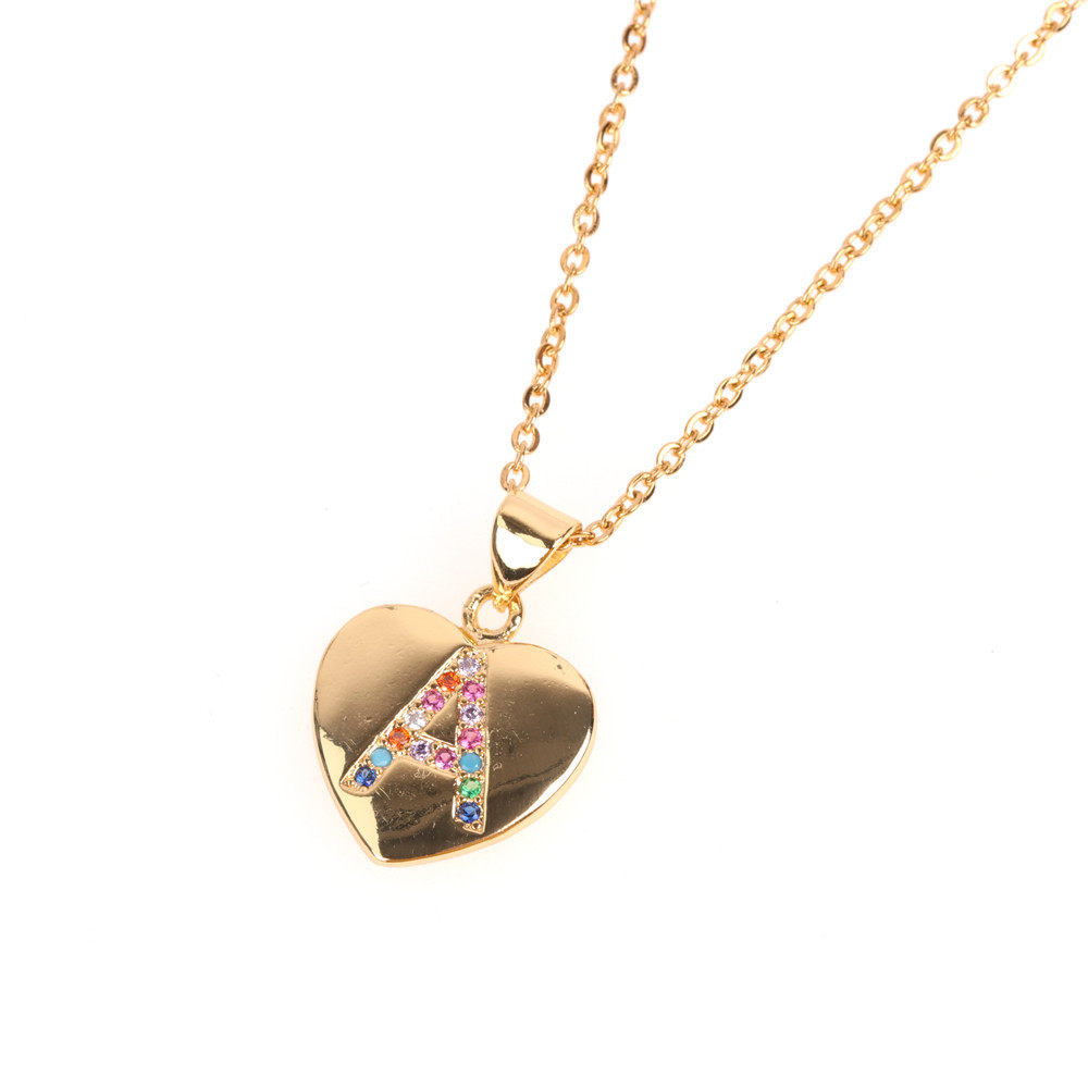Micro Inlaid Zircon Love Peach Heart Necklace English Letter Pendant Clavicle Chain Wholesale NHPY184654