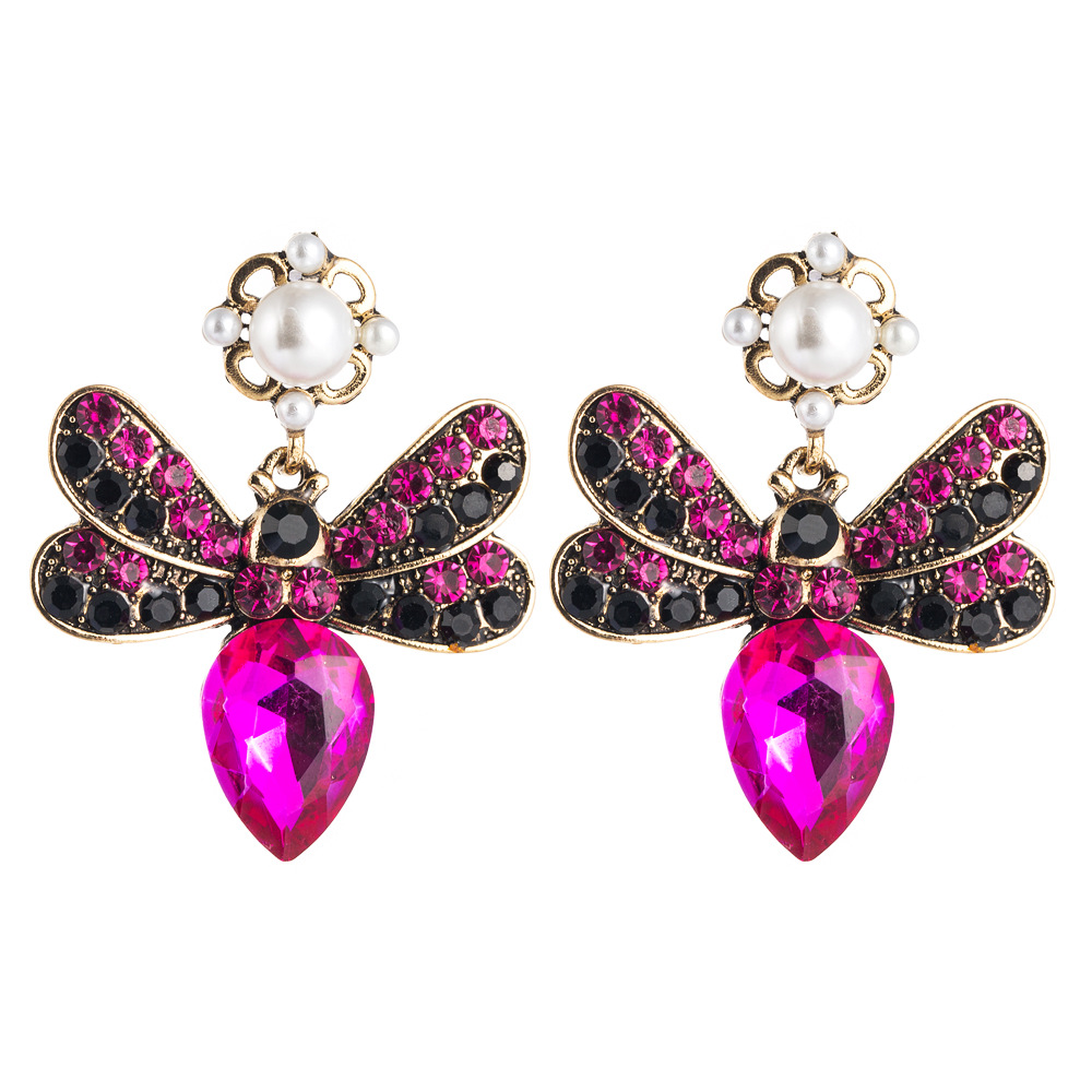 Fashion Bohemian Butterfly Alloy Multicolored Rhinestone Multilayer Exaggerated Earrings NHLN197548