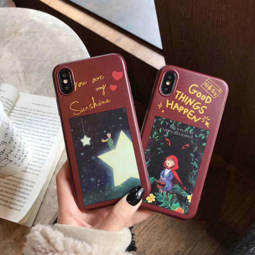 Cute literary little red hood girl for 6s mobile phone shell iPhone7plus/8/X matte protective cover female models