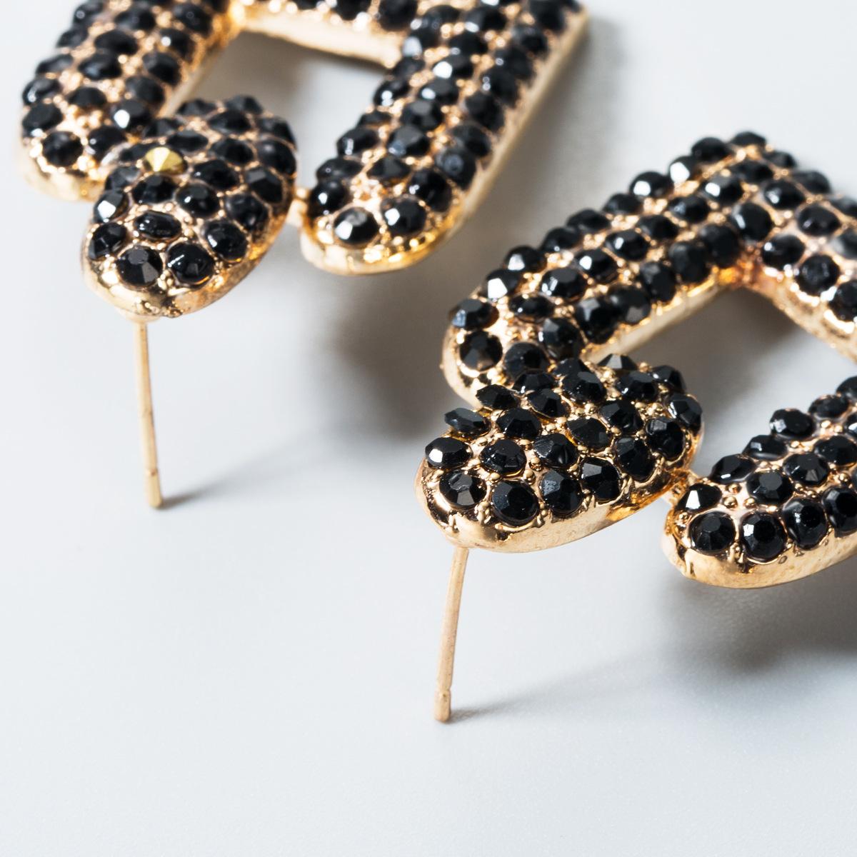 Fashion retro personality geometric rhinestone alloy earrings NHLN158399