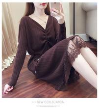 連衣裙女秋冬季新款中長款V領毛衣裙修身過膝蕾絲打底針織連衣裙