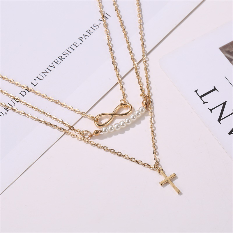 New fashion long necklace 8 word pearl multi-layer necklace cross pendant necklace female clavicle chain wholesale NHMO208212