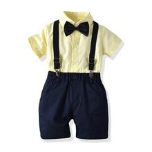 男寶寶兒童紳士套裝短袖領結夏季短袖短褲禮服跨境外貿新款潮現貨