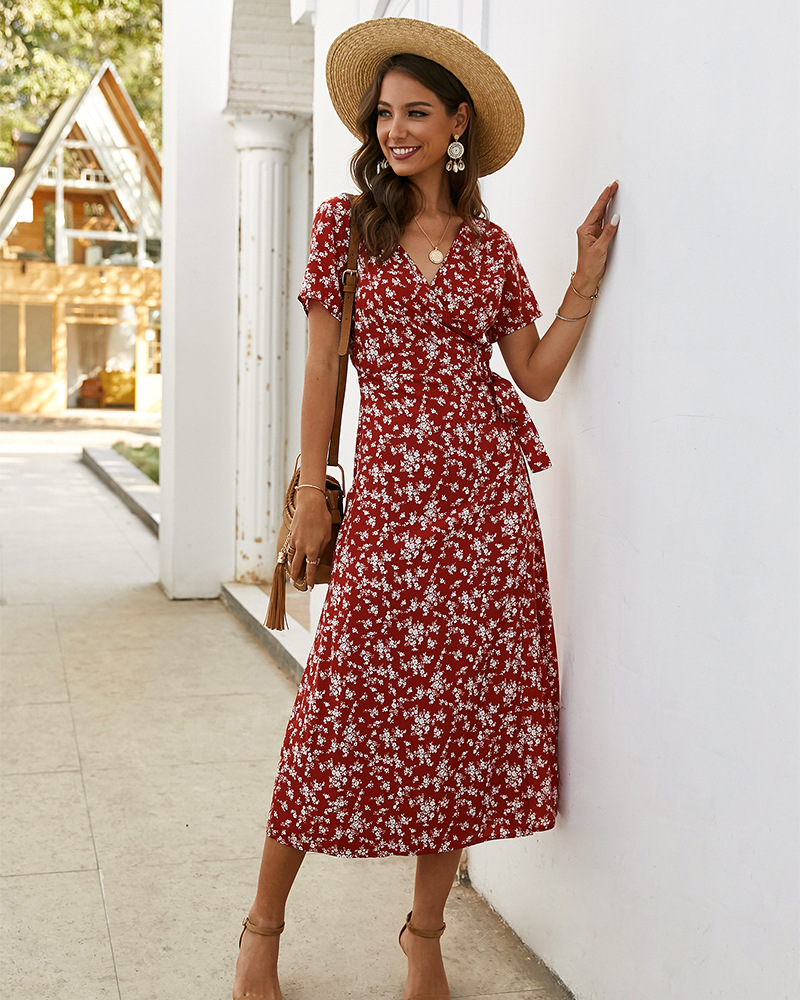women's spring and summer floral slim short-sleeved dress NSKA1040